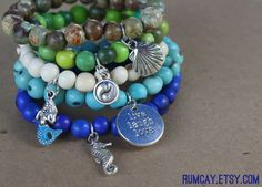 Acai Seeds Charms Bracelets  5  blue turquoise white by RumCay