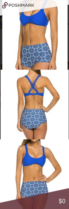 ✨New Stock✨ Patterned High waist swimsuit Cute two piece swimsuit, swim top is pull over style with a strappy back detail, and back clasp closure for support, removable pads, and printed high waist swim bottom. Material: 82% Nylon, 18% Spandex. Measurements: Small: 26in waist, Medium: 27in waist, Large: 29.5in waist, top Full B cup/Small C cup. Swim Bikinis