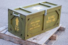 Inspiration: Dressing up an old crate to look like a military ammo box would be a great idea for camping out there, to disguise our cooler and keep our food safe!