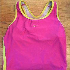 Nike pink & yellow tank top Nike pink & yellow tank top. NWOT wore once Nike Tops Tank Tops