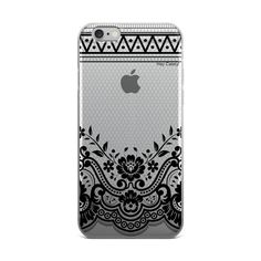 This design has a beautiful detailed lace pattern printed on a transparent case. Our phone cases are individually printed with a high quality UV printer importe