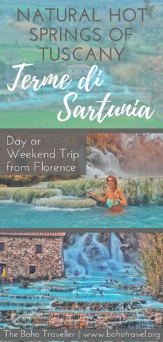 The Natural Hot Springs of Sartunia are located a few hours from Florence and are a perfect day or weekend trip within Tuscany!! the hot springs are a perfect place to relax with natural thermal healing properties | hot springs in italy | things to do in tuscany| off the beaten path italy | things to do near florence | what to do in tuscant #tuscany #florence #italy #italytravel #traveltips