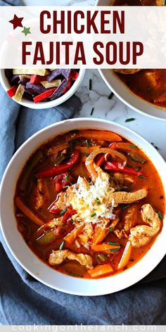 Chicken Fajita Soup is an easy, healthy weeknight dream dinner. Full of fajita flavors this is a delicious skinny Tex-Mex Mexican soup recipe. Low Carb Soup that high in flavor and just right spicy.  #soup #chicken #fajita #easysoup #weeknightdinner #easydinner #keto #lowcarb #ketosouprecipe #chickensoup #fajitasoup