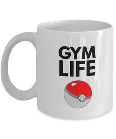 Pokeball Coffee Mug - Pokemon Cup -GYM LIFE- Nintendo Gift - Pokemon Gift for Trainers, Coworkers, Friends -Pokemon Go Mugs -ceramic 11 oz by EwaGoods on Etsy