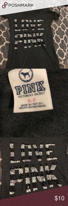 VS pink top Black Victoria Secret sequin tee PINK Victoria's Secret Tops Tees - Short Sleeve