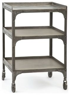 """Demar Industrial Loft Galvanized Steel 30"""" Side Table traditional kitchen islands and kitchen carts"""