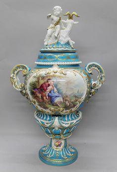 """Sévres  Porcelain (France) —  Palatial  Vase,  H: 32"""" W: 20"""", 19th C.(748x1100)"""