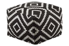 Black Geometric Pouf View 1