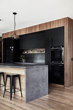 Informations About Bespoke concrete kitchen island bench. Kitchen Island Bench, Black Kitchen Cabinets, Black Kitchens, Black Kitchen Island, Kitchen Islands, Kitchen White, Kitchen Small, Small Kitchens, White Cabinets