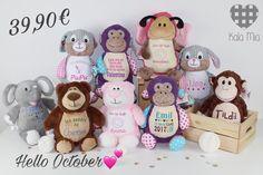 Wir begrüßen den 🍂Oktober🍁 mit einer neuen ✨Rabattaktion✨in unserem Shop!  🍂🐿🍁🍂🐌🦉🍂🕷🕸🍁🌻🌟🍂🍁🦇🍂  ✔️Ihr könnt alle Stofftiere (Jumbo Tiere ausgenommen) um 🔻39,90€ inkl. Bestickung erwerben! ✔️Außerdem haben wir die 📦Versandkosten für euch gesenkt!  Habt eine schöne Herbstzeit🍂☺️ Ich freue mich auf eure Bestellungen! ❤️Katharina Hello October, Cubbies, Teddy Bear, Toys, Animals, Unique Gifts, Woodworking Toys, Fabric Animals, Cuddling