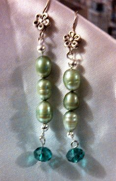 Green Saltwater Pearl/Crystal Drop Earrings.  St by Mladyfaire, $10.00