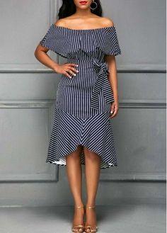 Off the Shoulder Striped Belted Dress | Rosewe.com - USD $32.62