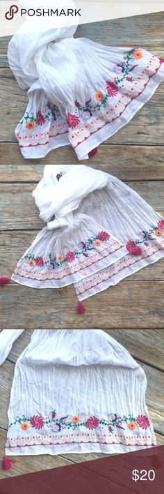 Embroidered Gauze Scarf NWOT. Cotton Gauze scarf with Embroidered ends and tassels. This is so pretty and travels great. Just twist it up, pack and go. H&M Accessories Scarves & Wraps