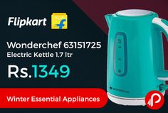 Flipkart brings #WinterEssentialAppliances and offering 32% off on Wonderchef 63151725 Electric Kettle 1.7 ltr Just at Rs.1349. This 1.7 L electric kettle is a great travel companion as well – take it along with you for trips and sip on tea anytime you want, thanks to its compact design.  http://www.paisebachaoindia.com/wonderchef-63151725-electric-kettle-1-7-ltr-just-at-rs-1349-flipkart/