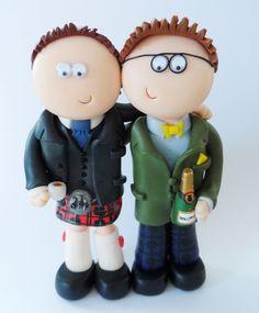 Scottish themed Civil partnership Gay wedding cake topper, I can make whatever you like www.googlygifts.co.uk & I ship World wide.