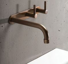 New from fixtures manufacturer Brodware, an family-owned company making hardware in Australia since the Yokato Collection of solid brass bath and kitchen fixtures. Above: The Wall Set bathroom Kitchen Fixtures, Plumbing Fixtures, Bathroom Fixtures, Remodled Bathrooms, Bathroom Showrooms, Kitchen Taps, Plumbing Pipe, Industrial Bathroom, Bathroom Interior