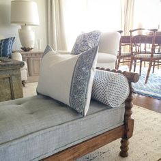 I like the bench, the spool legs and the chambray fabric and the pillow fabrics