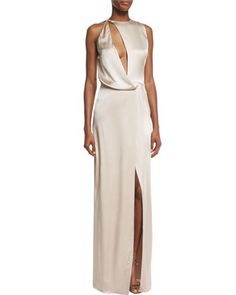 Sleeveless+Cutout+Asymmetric+Satin+Gown,+Champagne+by+Halston+Heritage+at+Neiman+Marcus.