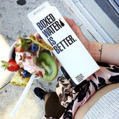 Fruity cocowhip + cartoned water (how cool?! How sustainable?!) post-coastal walk. Sydney I love you! Sunshine I missed you!☀ @speedoscafe