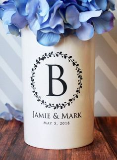 Anniversary Gift, Wedding Gift or Engagement Gift - Use as a Personalized Vase or Utensil Holder - Wreath Design - Personalized Wedding Gifts - Engagement Ring Wedding Gifts For Couples, Great Wedding Gifts, Personalized Wedding Gifts, Monogram Gifts, Bridal Gifts, Gift Wedding, Wedding Ideas, Wedding Games, Wedding Fun