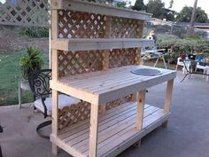 Handmade garden potting bench. Made in just an afternoon.
