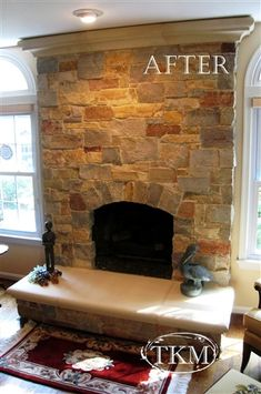 After- stone fireplace makeover with precast elements by Kings Masons, via Flickr