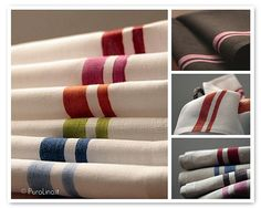 Pure linen, hand-printed tea towels by PuroLino, Italy.