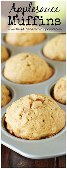 Applesauce Muffins ~ Perfect for breakfasts & snacks!  www.thekitchenismyplayground.com