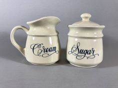 CERAMIC CREAM and SUGAR set, Vintage cream & sugar set, ivory cream and sugar set, simple sugar and creamer, farmhouse decor, coffee gift by TheJellyJar on Etsy