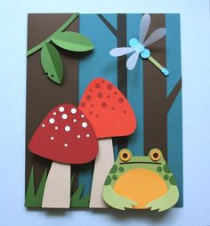 Frog In The Woods Paper Cut Tutorial/Pattern PDF - Osterbasteln Mit Kindern Paper Crafts For Kids, Arts And Crafts, Diy Crafts, Simple Paper Crafts, Boat Crafts, Fabric Crafts, Paper Owls, 3d Paper, Paper Cutting