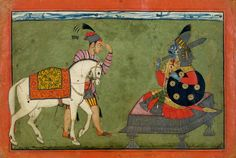 Kalki Avatar, the Future Incarnation of Vishnu. ca. 1700–1710. India (Basohli, Jammu). Kalki is described as either a white horse or a warrior on a white horse. In paintings from the Punjab Hills he is usually shown, as here, in the guise of a groom leading a white horse to a seated warrior with blue skin, the color traditionally associated with Vishnu. ~Met Museum.