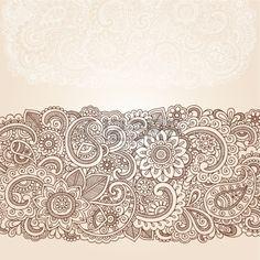 Flores Henna Mehndi Paisley y Dise�o Edge Tattoo Doodle photo