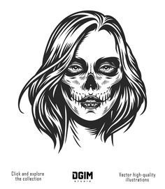 "20 ""Day Of The Dead"" Apparel designs - Day Of The Dead Designs - Dia De Los Muertos Designs - Halloween Dead Makeup, Skull Makeup, Face Makeup, Vector Design, Graphic Design, Vector Art, Makeup Illustration, Chicano Art, Monochrome Fashion"