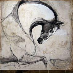 """""""Le coursier de Neptune"""", Mixed media on canvas by #artist Lea Riviere at #Galerie Saint-Dizier"""