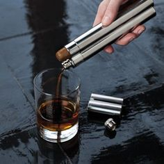 Harrison Stainless Steel Cigar Holder and Flask by Viski Makes A Very Trendy And Sophisticated Gift Cigars And Whiskey, Good Cigars, Pipes And Cigars, Cuban Cigars, Zigarren Lounges, Rum, Cigar Gifts, Cigar Holder, Cigar Cases