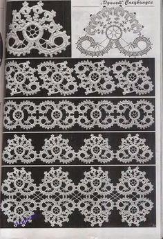 Irish Crochet motifs-click thru at the link to many more charted motifs Filet Crochet, Crochet Motifs, Crochet Borders, Freeform Crochet, Crochet Diagram, Crochet Chart, Thread Crochet, Knit Or Crochet, Crochet Doilies