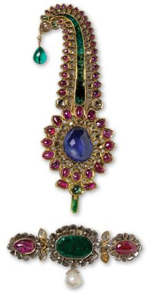 Sapphire, ruby and emerald gold jewelry, formerly owned by Indian Maharaja