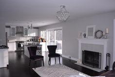 living rooms - Behr Dolphin Fin, grey walls, dark bamboo floors,  family room