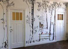 bos behang Metal Wall Decor, Metal Wall Art, Nursery Room, Baby Room, Forest Wallpaper, Watercolor Wallpaper, Nursery Wallpaper, Kidsroom, Cool Walls