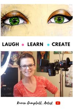 Learn how to paint GORGEOUS EYES for the whimsical girls that fill your mixed media art journals altered books canvases In this FREE step by step 13 minute tutorial Kare. Mixed Media Faces, Mixed Media Art, Learn Art, Learn To Paint, Karen Campbell, Draw Eyes, Online Art Classes, Art Tutorials, Drawing Tutorials