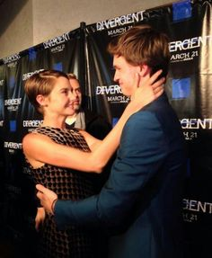 Shailene Woodley and Ansel Elgort being adorable at a pre-screening of Divergent