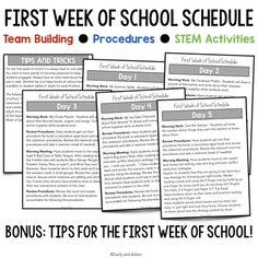 FREE First Week of School Schedule First Week Of School Ideas, First Day Of School Activities, Beginning Of The School Year, School Week, First Grade Lessons, School Lessons, Teacher Forms, School Teacher, Sixth Grade Science