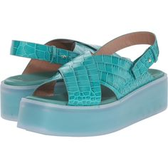 Paul Smith Runway Kai Aquatic Wedge (Aquamarine) Women's Wedge Shoes (€330) ❤ liked on Polyvore featuring shoes, sandals, blue, open toe wedge sandals, ankle strap platform sandals, wedges shoes, ankle strap sandals and ankle wrap wedge sandals