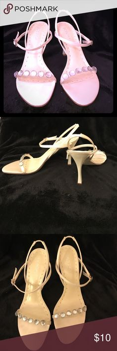BCBG Girls heels BCBG Girls strapped heels. They are off-white. One strap across the toe with white jewels. Two cross crossing straps around ankle. Adjustable strap BCBGirls Shoes Heels