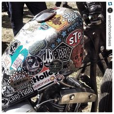 """@luckycatgarage's photo: """"#Repost @wrenchmonkees ・・・ Right there, among friends and likeminded, on Sebs @luckycatgarage chopper.. #glemseck101 #luckycatgarage #wrenchmonkees #wrenchmonkeesontour"""""""