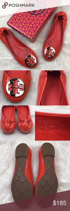 """[Tory Burch] Orange Patent Leather Reva Flats Gold Tory Burch """"Reva"""" Ballet Flat. Tumbled Patent Leather with metal logo. Habanero Pepper (Orange)and Gold color combo.  🔹Condition: New in box. Never worn. Tory Burch Shoes Flats & Loafers"""