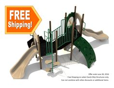 """Quick Ship Structure 015, Our Quick Ship Structure #015 is a fast way to infuse fun into your playground! This outdoor play structure is perfect for your children ages 2-12 and is in-stock and can ship in a matter of days not weeks!  The Quick Ship Structure 015 includes/features:  (1) Square Deck @ 36"""" Height (2) Triangle Decks @ 48"""" Height Transfer Station Ship's Wheel Right Turn Slide Pea Pod Climber…"""