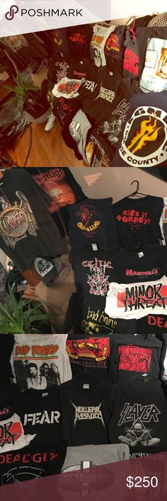 Hardcore, skateboard, heavy metal  concert tshirts A few of my pretty huge collection of 80's and 90's shirts. I was in a hardcore band late 80's through late 90's and did some touring, I've collected shirts from the bands we played with, some of them were never even worn, others were rarely taken off lol. These shirts go for big bucks, I've seen some sold on eBay for upward of 7-800 dollars and they actually sold, not just asked. That's only a few rare and sought after that go that high…