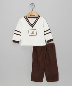 Take a look at this Brown Sports Smocked Top & Pants - Infant by Boutique Collection by Imagewear on #zulily today!