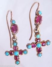 Antique Georgian Earrings -  Gold Crosses set w Rubies  & Turquoise (#4315)